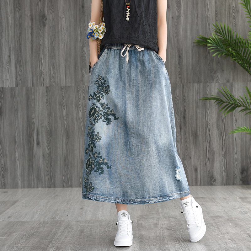Summer new art embroidery show thin elastic denim skirt joker A word skirt Women long skirts girl(China)