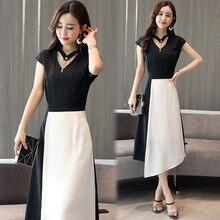 new 2018 summer Korean fashion dress false two-piece outfit women white black patchwork irregular lady vestido dresses M -XXL