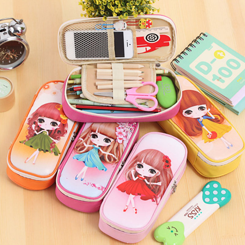 Kawaii Pink Sweet Girl Pencil Case School Large Capacity Pencil Bag Leather For Girls Pen Box Stationery Supplies Accessories big capacity high quality canvas shark double layers pen pencil holder makeup case bag for school student with combination coded lock