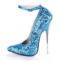 Women Shoes Sexy Pumps High Heels 16cm Stiletto Glitter Sequins Metal Heels Fashion Party Shoes Ankle Strap Ponted Toe Big Size