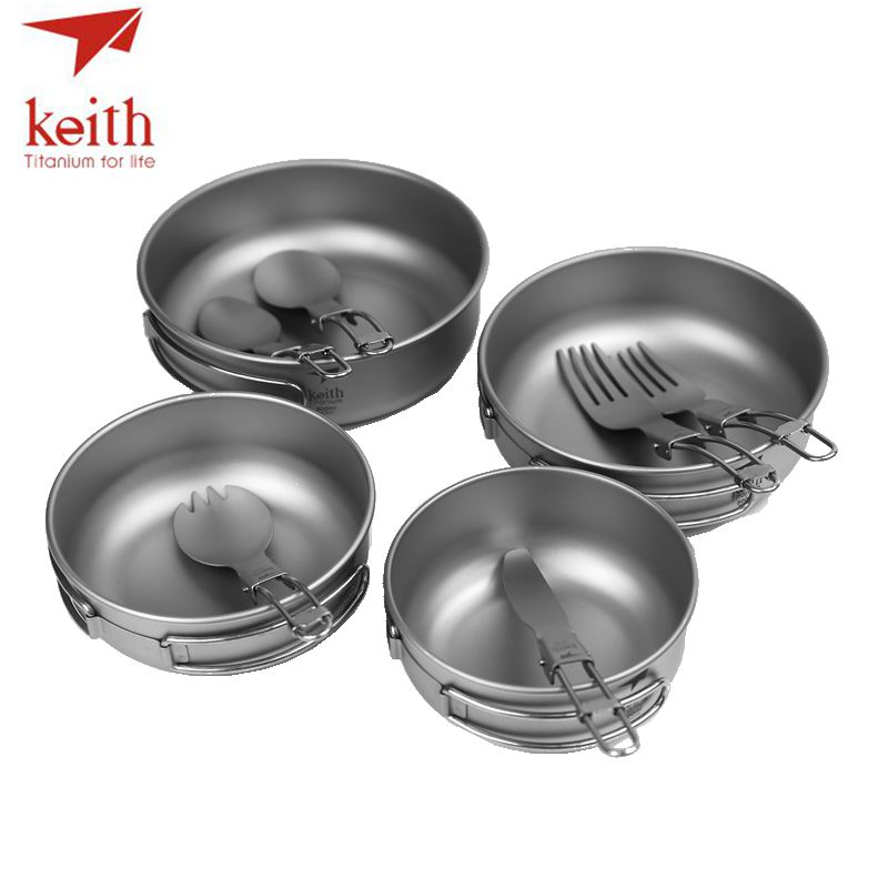 Keith Titanium Camping Travel Tableware Set Titanium Ultralight Foldable Bowls Spork Fork Spoon Knife 10Pcs Sets Ti5374 keith double wall titanium beer mugs insulation drinkware outdoor camping coffee cups ultralight travel mug 320ml 98g ti9221