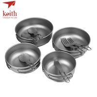 Keith Titanium Camping Travel Tableware Set Titanium Ultralight Foldable Bowls Spork Fork Spoon Knife 10Pcs Sets Ti5374
