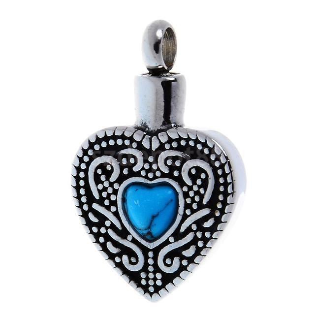Stainless Steel Blue Turquoise Heart Urn Keepsake