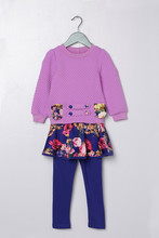 Весна Осень 3 4 5 6 7 8 9 10 11 лет девушки цветок хлопка печати одежда набор пуловер пальто & pantskirt девушки одежду свадебные платья