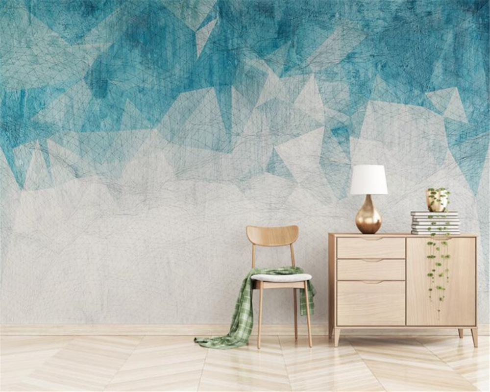 Nordic Minimalistic Abstract Lines Geometric Tv Background Wall Paper Bedroom Sofa Background 3d Wall Cartoon Mural Wallpaper Home Improvement