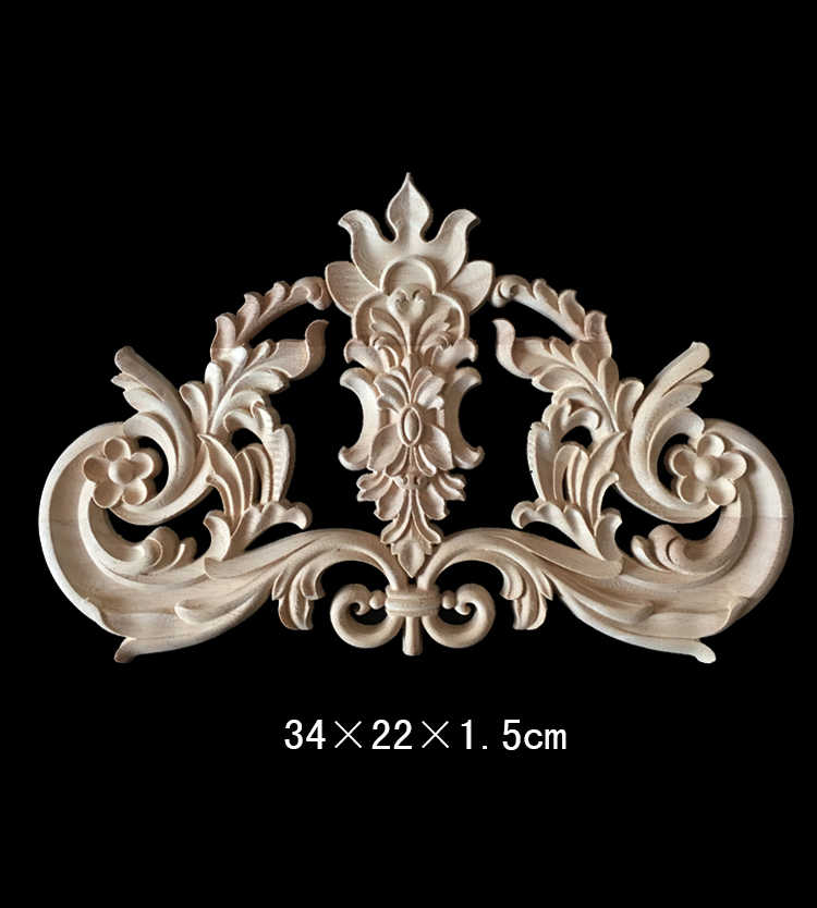 Furniture Corner Wooden Applique Decor Frame Wall Door Woodcarving Decal Figurine Ornaments Home Decoration Accessories 34x22cm