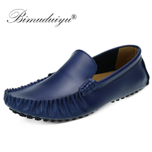 BIMUDUIYU Luxury Brand 38-47 Men Loafers Top leather Comfortable Casual Shoes Fashion Soft Slip-on Mocassins Black Flats Shoes