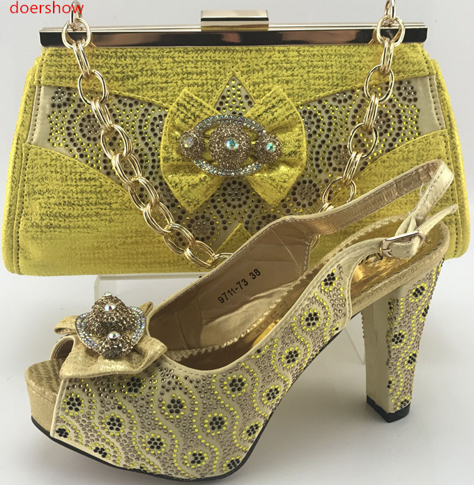 Doershow Top Quality Rhinestone Green Wedding Evening Shoes And Bag Set Popular Italian Online WI1 14 In Womens Pumps From