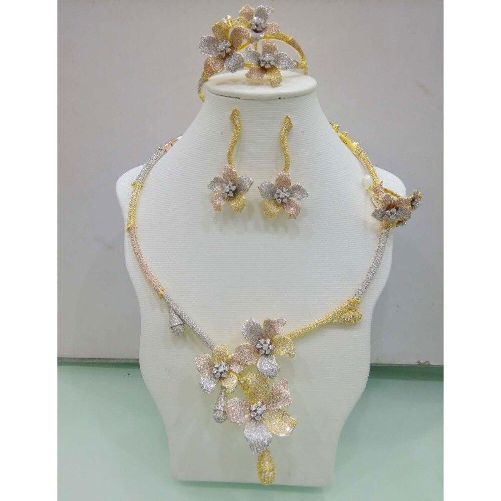 цены GODKI Flower Leaf Wreath Luxury 3 Tone Women Wedding Naija Bridal Cubic Zirconia Necklace Dubai Dress Jewelry Set