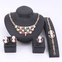 Perla Gioielli da sposa Set Vintage Beads Africani Collana Orecchini Braccialetto Anello di Cristallo Donne Belle Partito Accessori Abito Set