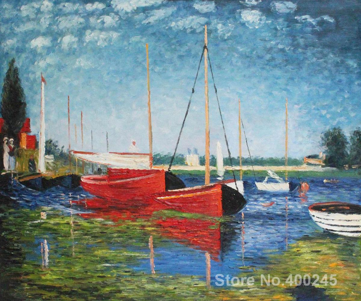 oil Painting room decor Red Boats at Argenteuil by Claude