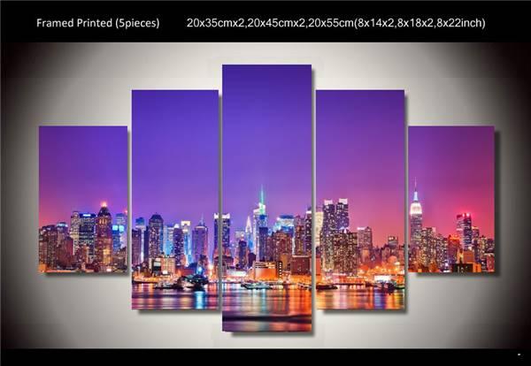 New York City Night Purple Skyline Photo Print on Canvas Cityscape Poster FRAMED