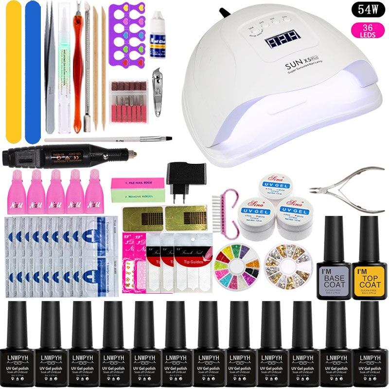 Full Manicure Set With Lamp Nail Set  Sets 12pcs UV Gel Nail Polish Set Tools For Manicure 36w/48w/54w UV LED Lamp For Nail Art