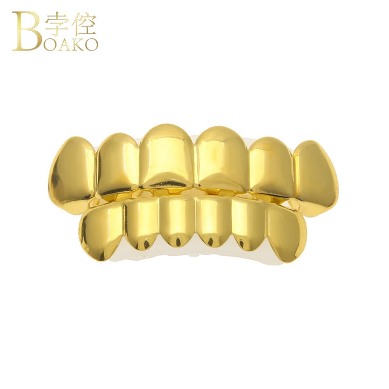 BOAKO Bling Grillz Men Hip Hop Gold Dental Grills Tooth Grillz Cap Rapper Teeth Grillz Caps Punk Tooth Jewelry Party Gift Z5