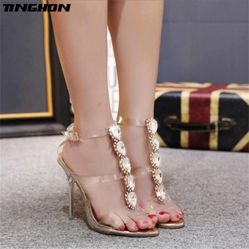 TINGHON Summer Sexy High Heels Luxury Rhinestone PVC Transparent Pumps Women Sandals fashion Buckle Crystal with Woman Shoes