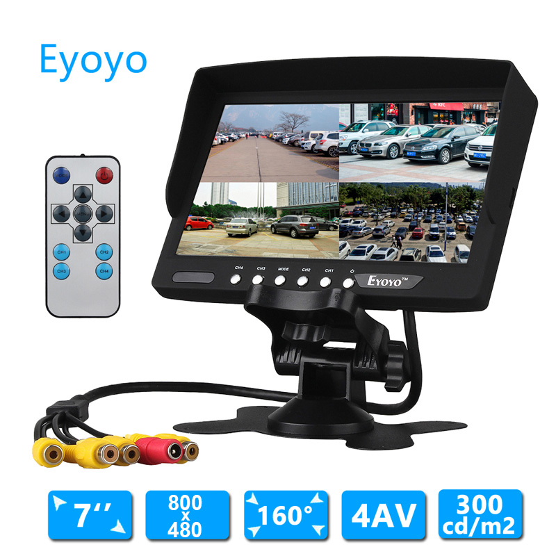 EYOYO 7 inch TFT LCD Color Monitor Car Rear View Headrest Monitor For Car Reversing 4 Camera 10 inch hdmi monitors hd digital lcd screen car headrest monitor car audio playerfm car headrest dvd player with gaming system