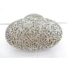 8234 Crystal OVAL Wedding Bridal Party Night Silver hollow Metal Evening purse clutch bag case handbag