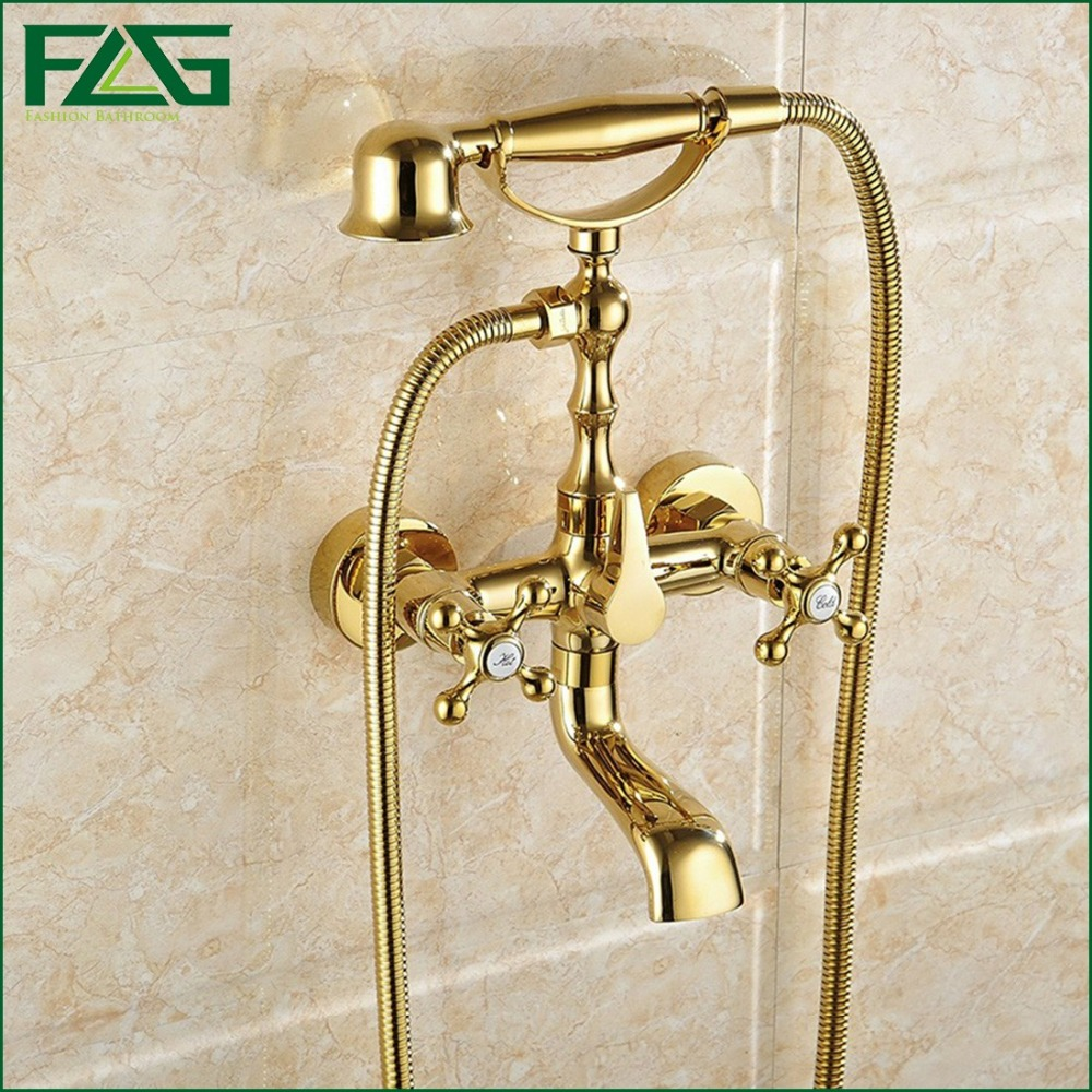 FLG Free Shipping Gold Plated Finish New Wall Mounted Shower Faucet Bathroom Bathtub Handheld Shower Bath Tap Mixer Faucet HS043