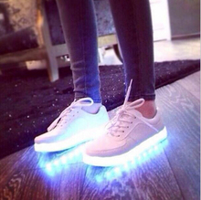 fashion Led Shoes 2016 Big size 35-46 Fashion Light Men high-quality casual Shoes Shoes Outdoor travel dance Led USB Shoes