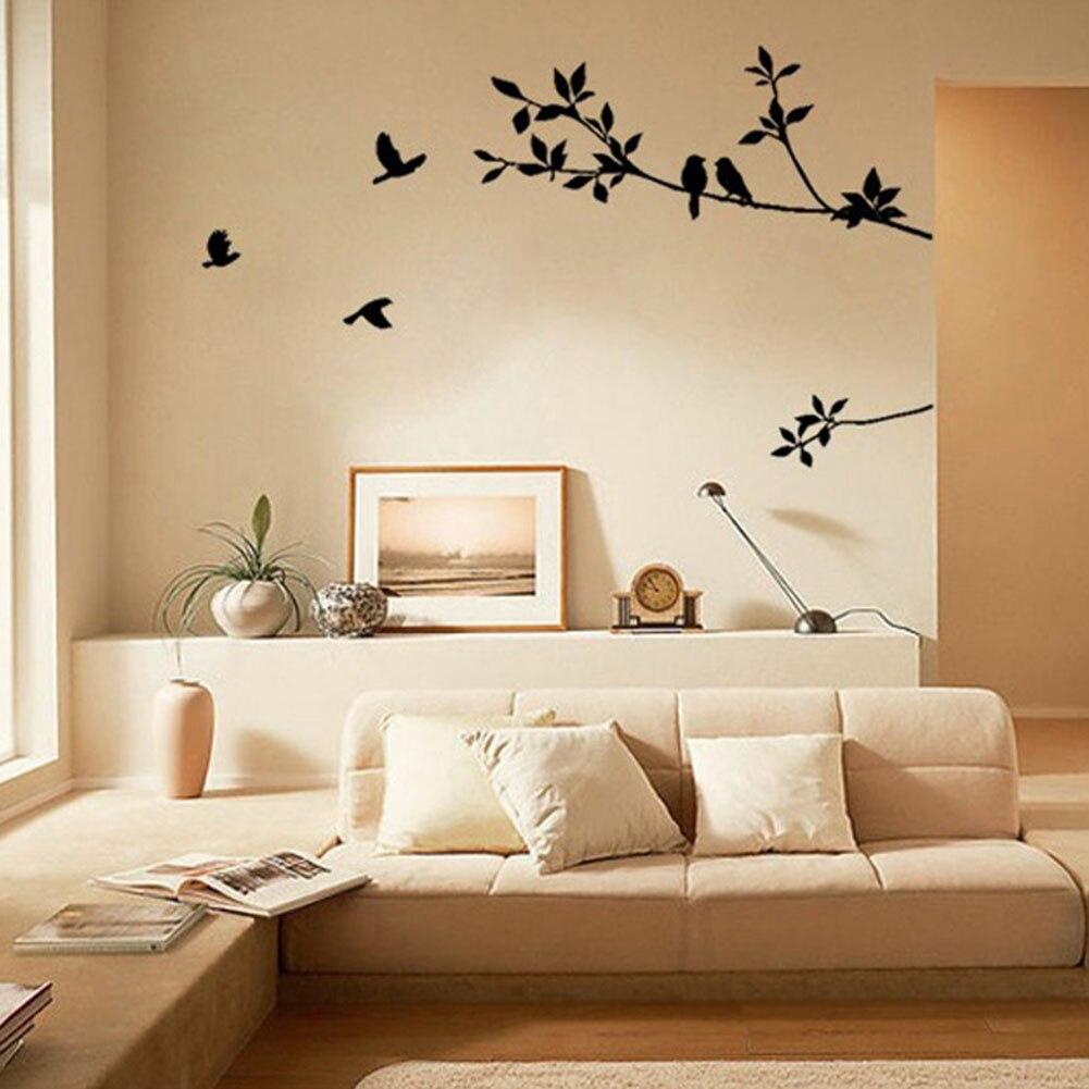 New fashion heaven new tree branch black bird art wall for Dormitorio beige