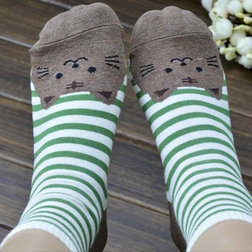 KANCOOLD 3Dสัตว์ลายการ์ตูนถุงเท้าผู้หญิงรอยเท้าแมวถุงเท้าผ้าฝ้ายชั้นมี.ค. 16