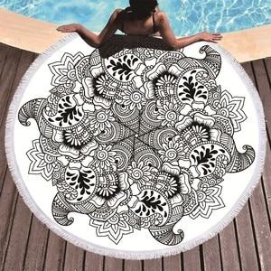 Image 1 - Printed Flower Mandala Large Beach Towels Microfiber Towel Beach Adults Black Geometric Towels Bathroom Blanket Yoga Mat Toallas