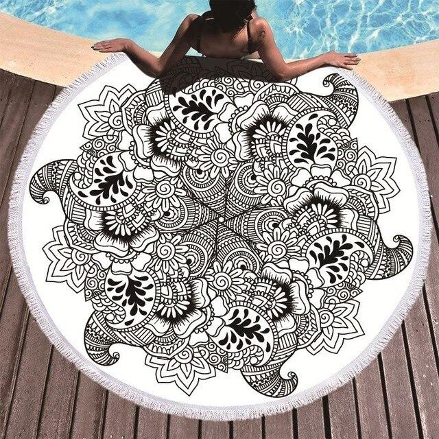Printed Flower Mandala Large Beach Towels Microfiber Towel Beach Adults Black Geometric Towels Bathroom Blanket Yoga Mat Toallas