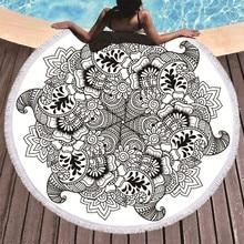 プリント花曼荼羅大ビーチタオルマイクロファイバータオルビーチ大人黒幾何学タオル浴室毛布ヨガマット Toallas