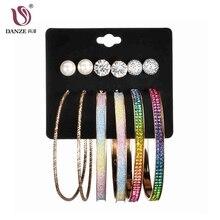 DANZE 6 пара/лот, имитация жемчуга, металлический шар, разноцветный большой круг и шпилька, Комплект сережек для женщин, панк, Простые Ювелирные изделия Kolczyki Aros