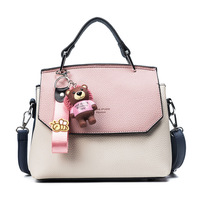 2018 Fashion Cute Small Handbags Pu leather Women Famous Brand With Toys Crossbody   Bags   PatchWork Female Messenger   Bags   613