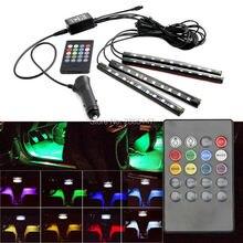 4 stks LED RGB Auto Binnenverlichting Sfeer SUV Floor Strip Lamp Afstandsbediening Muziek Controle Auto Interieur Decoratieve Verlichting Auto styling