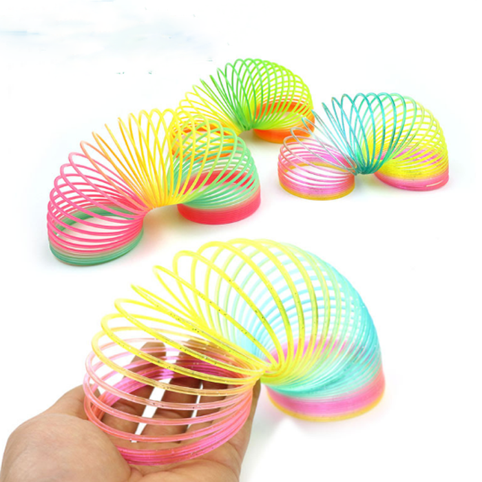 1 Pack Fun Classic Rainbow Circle Folding Plastic Spring Coil Childrens Creative Magical Toys Educational