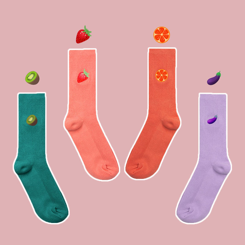 SP&CITY Cute Cartoon Fruit Print Eggplant Kiwifruit Strawberry Grapefruit Kawaii Socks Korean Harajuku Embroidery Funny Socks