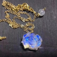 Top Quality Natural Blue Light Moonstone Pendant Women Men New Gift 15x14m Flower Carved 925 Silver Crystal Necklace AAAAA
