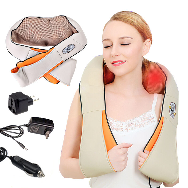 pain relief home car massager shawl acupuncture shiatsu heating kneading neck cervical shoulder massage pillow darsonval belt wholesale 10pcs ctn neck shoulder massager belt anti cellulite massager multifunction acupuncture kneading heating belt