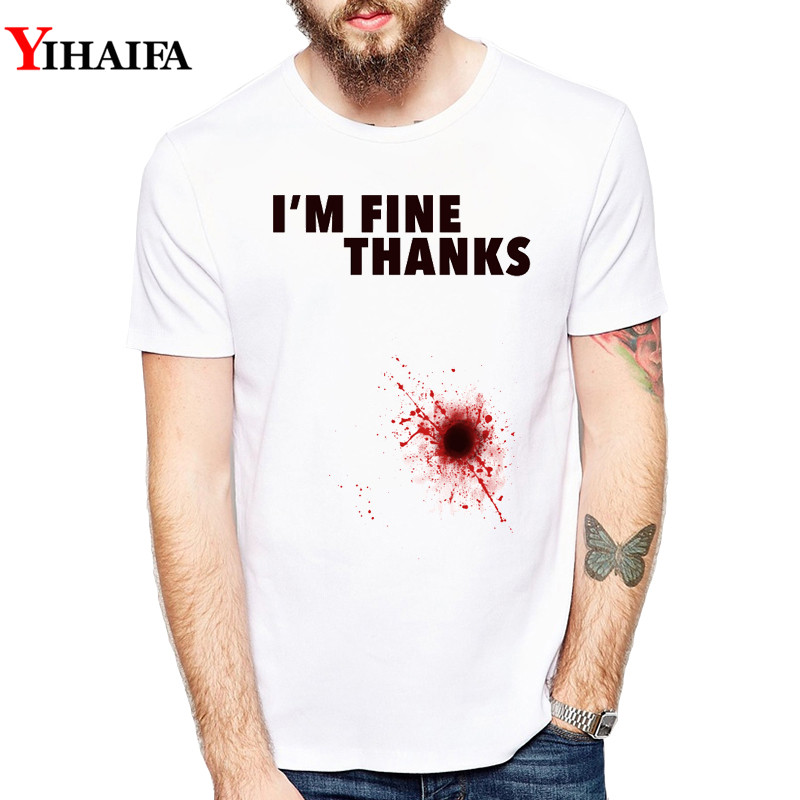 Men T Shirt Summer I'm Fine Letter Graphic Tee Gym Print T-Shirts Halloween Creative Short Sleeve Casual White Tops