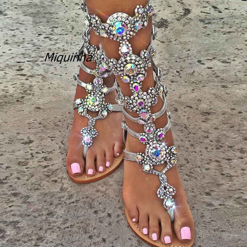 Plus Size Top Quality Luxury Style Rhinestone Bohemia Woman Sandals Fashion Glittering Summer Buckle Strap Lady Flat Shoes Hot lankarin brand 2017 summer woman pointed toe flats ladies platform fashion rivet buckle strap flat shoes woman plus size