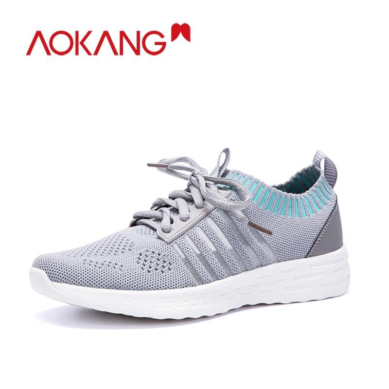 Aokang Mode Schoenen Vrouw Sneakers Fly Gebreide Voor Vrouwen Trainers Platform Schoenen Wedge Air Mesh Ademende Dames Casual Schoenen