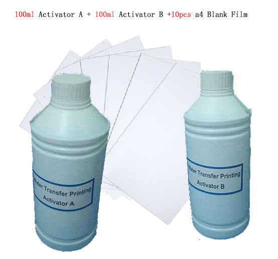 100 ml L'activateur A + 100 ml L'activateur B + 10 pièces A4 Film Hydrographique Pour L'impression Par Transfert D'eau Activateur de Film