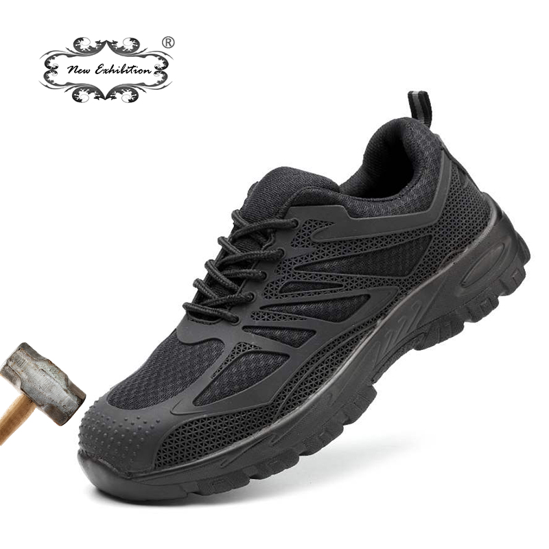 New exhibition Men Steel Toe Safety Shoes Casual Breathable Work Sneaker Anti piercing aramid fiber Protective