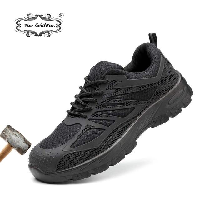 Yeni sergi Erkekler Çelik Burunlu Güvenlik Ayakkabıları Rahat Nefes Iş Sneaker Anti-piercing aramid fiber Koruyucu Ayakkabı tenis