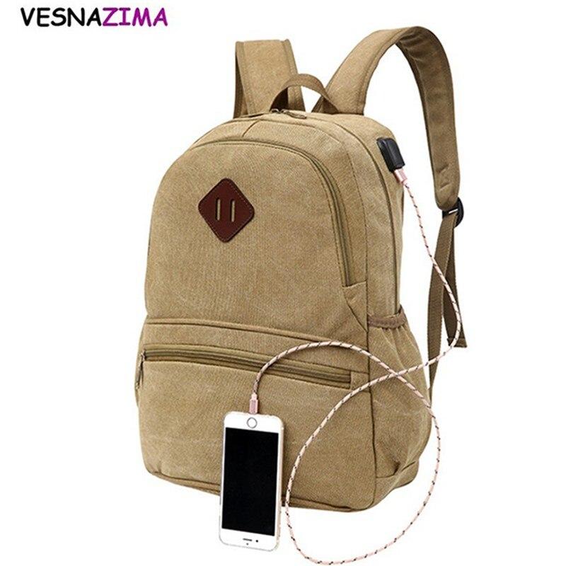 42a11e9d63d6 Vesnazima 2018 Внешний USB зарядки рюкзак мужской Mochila Escolar Ноутбук  Рюкзак Мужчины Женщины школьная сумка рюкзак