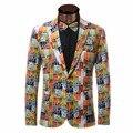 Новый Мужской Пиджак Пиджак Бренда, Дизайн Печатной Роскошный Пиджак Homme Повседневная Однобортный Slim Fit Мужская Пиджаки Мужские Костюм Куртки
