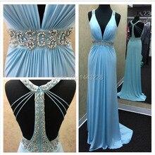 Eine Linie V-ausschnitt Blau Chiffon Perlen Backless Abendkleid Lange Formale Abendkleid vestidos formales