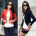 Dama de la moda elegante del ol carrera de manga larga mujer pequeña capa de la chaqueta cardigan blazer mujeres traje solid albaricoque orange azul cl1031
