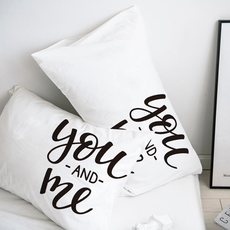Custom Pillow Case Pillowcase 50x70 50x75 50x80 70x70 Decorative Pillow Cover White you and me Bedding Drop Shipping