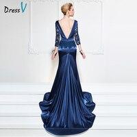Dressv navy blue long evening dress sexy mermaid v neck backless chapel train wedding party formal dress lace evening dresses