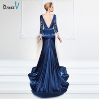 Dressv navy blue long evening dress sexy mermaid v neck backless chapel train wedding party formal dress lace evening dresses
