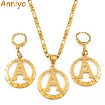 cc4084e9a96c Aniyo A Z alfabeto colgante collares para mujeres oro Color inicial cadenas  redondo inglés letra joyería regalos  105106