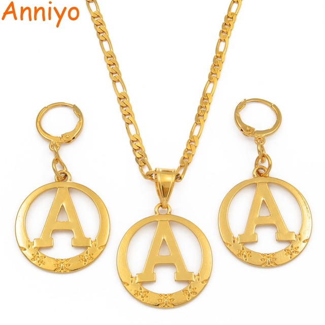 Anniyo A to Z Alphabet Pendant Necklaces for Women Gold Color Initial Chains Round English Letter Jewelry Gifts #105106